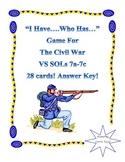 """I Have...Who Has..."" Game for Civil War: Virginia Studies SOLs 7a-7c"