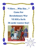"""I Have...Who Has..."" Game for Revolutionary War: Virginia"