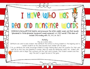 I Have/Who Has {March Real and Nonsense Word Edition}