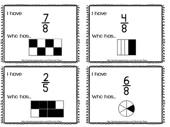 Mixed Fractions Math Game {numerals to pictorials} - I Have...Who Has?