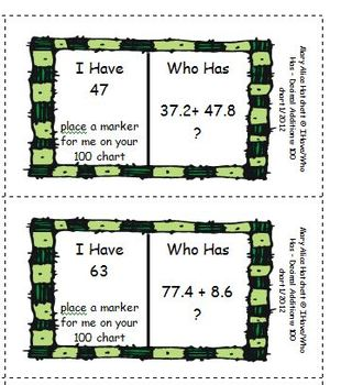 I Have/Who Has? Mixed Number and Decimal Addition with 100 chart