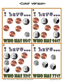 I Have...Who Has...? Money Activity