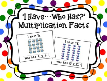 """""""I Have...Who Has?"""" Multiplication Facts with Arrays"""