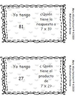 I Have,Who Has Multiplication Review (English and Spanish)