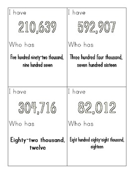 I Have/Who Has--Numbers through 999,999