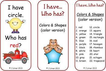 I Have.Who Has? Numerals, Letters, Colors & Shapes BUNDLE