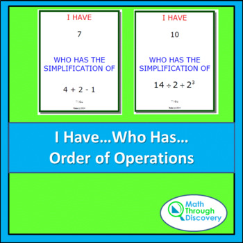 Middle School:  I Have...Who Has... Cards - Order of Operations