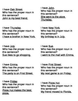 I Have..Who Has Proper Nouns
