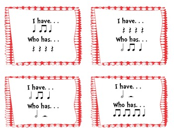 I Have/Who Has Quarter, Eighth, and Half Note/Rest Rhythm Game