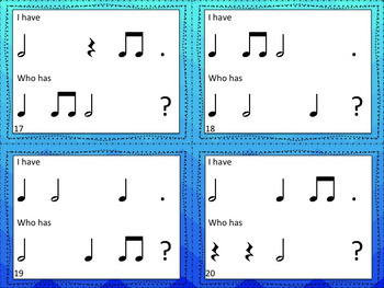 Music: I Have/Who Has? Rhythm Game: Half note