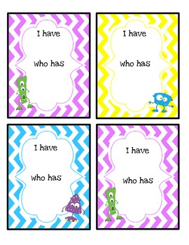 I Have/Who Has Sight Word Game (2nd Quarter)-Monsters