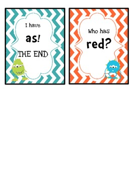 I Have/Who Has Sight Word Game (Quarter 1)- Monster Theme