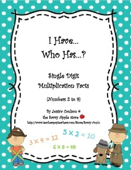 FREEBIE I Have...Who Has...?  Single Digit Multiplication Facts (Numbers 2 to 9)