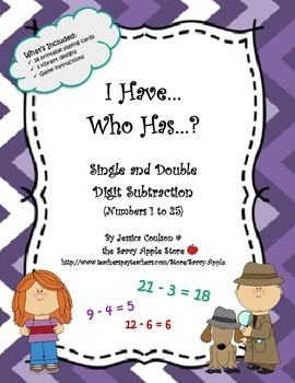 I Have...Who Has...?  Single and Double Digit Subtraction (Numbers 1 to 25)