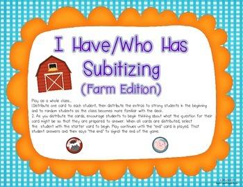 I Have/Who Has {Subitizing Farm Edition}