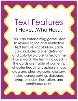 I Have...Who Has Text Features (Plain Text)