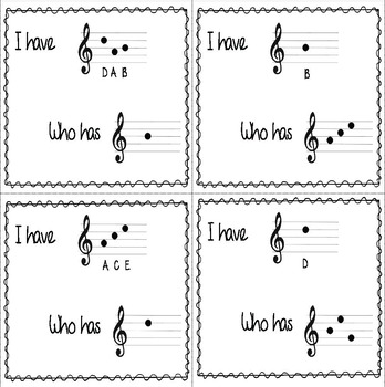 Music: I Have/Who Has? Treble Clef Word Game, Bundled Set