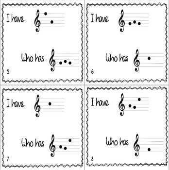 I Have/Who Has? Treble Clef Word Game, Game Set #1