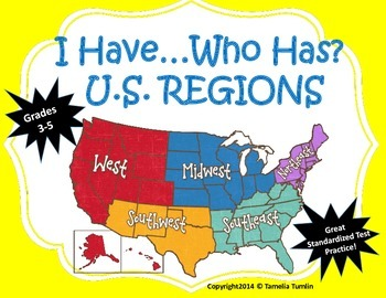 I Have...Who Has U.S. Regions Game! Grades 3-5