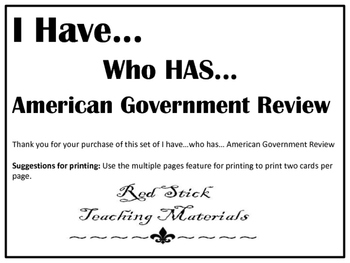 I Have..Who Has.. U.S government review