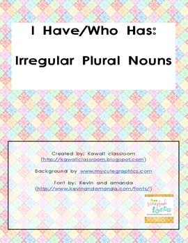 I Have/Who Has for Irregular Plural Nouns