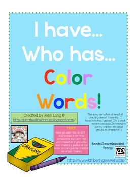 I Have...Who Has...Color Words~FREEBIE!