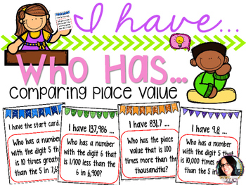 I Have...Who Has...Comparing Place Values COMMON CORE ALIGNED 5.NBT.1