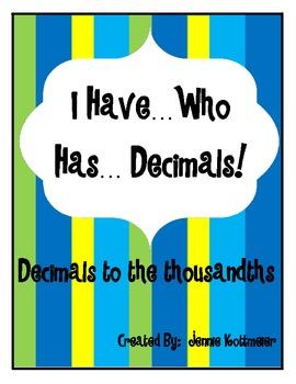 I Have...Who Has...Decimals!