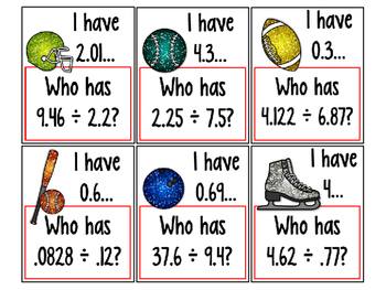 I Have...Who Has...Dividing Decimals COMMON CORE ALIGNED 5.NBT.7