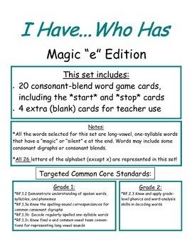 I Have...Who Has...Magic e Edition