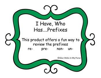 I Have...Who Has...Prefixes! (re-, pre-, non-, un-) (Core Knowledge)