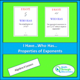 I Have...Who Has...Cards - Properties of Exponents - Algebra II