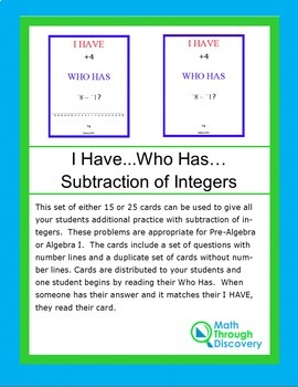 I Have...Who Has...Cards- Subtraction of Integers