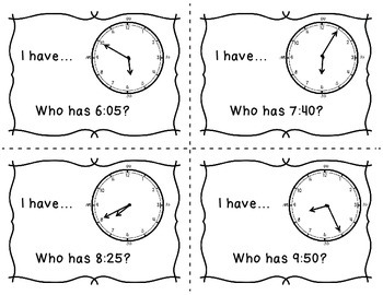 I Have...Who Has...Telling Time on a Analog Clock to the Nearest 5 Minutes