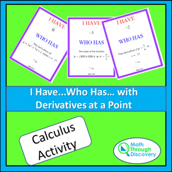Calculus:  I Have...Who Has...Cards- With Derivatives at a Point