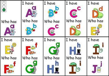 I HaveWho Has Alphabet Cards 114031 on Kindergarten Letter Sounds Phonics Worksheets