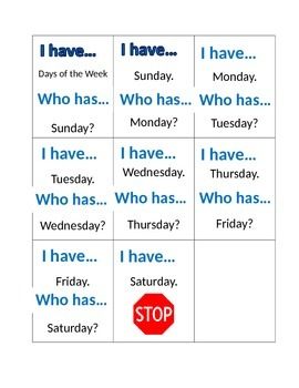 I Have...Who has Days of the week