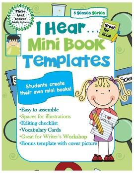 I Hear Mini Books Template - with Vocabulary Cards - 5 Senses