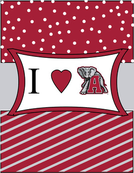 Binder Cover- Heart Alabama Crimson Gray and White