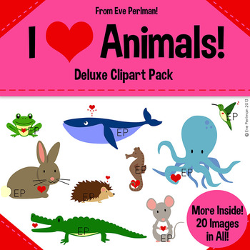 I Heart Animals Valentine's Day Clipart