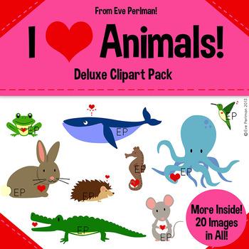 I Heart Animals Valentine's Day Clipart