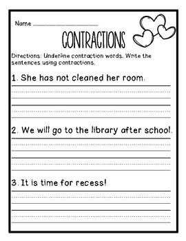 I Heart Contractions: Differentiated Contraction Practice (Valentine's Day)