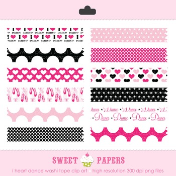 I Heart Dance Washi Tape Hot Pink Black Digital Clip Art Set - by Sweet Papers