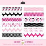 I Heart Dance Washi Tape Hot Pink Black Digital Clip Art S