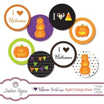 """I Heart Halloween"" Bottle Caps Printable Collage Sheet"