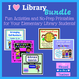 I Heart Library Bundle - Games and Printables - Elementary Library Skills