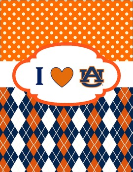 I Heart Love Auburn Orange Blue Binder Cover