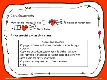 I Heart Math Game Board and Advance/Retreat Cards for Use with ANY Task Cards