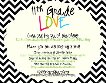 I Heart My Eleventh Graders Sign Pack {Chevron}