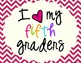 I Heart My Fifth Graders Sign Pack {Chevron}